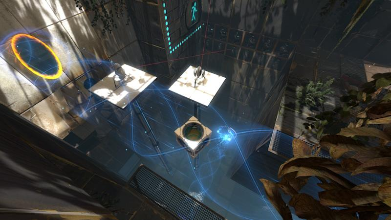 "In this video game image released by Valve, a scene is shown from the game ""Portal 2."" The mind-bending sci-fi puzzler ""Portal 2"" and sweeping fantasy role-playing game ""The Elder Scrolls V: Skyrim"" lead the nominees at the 12th annual Game Developers Choice Awards with five nominations each, including game of the year. (AP Photo/Valve)."