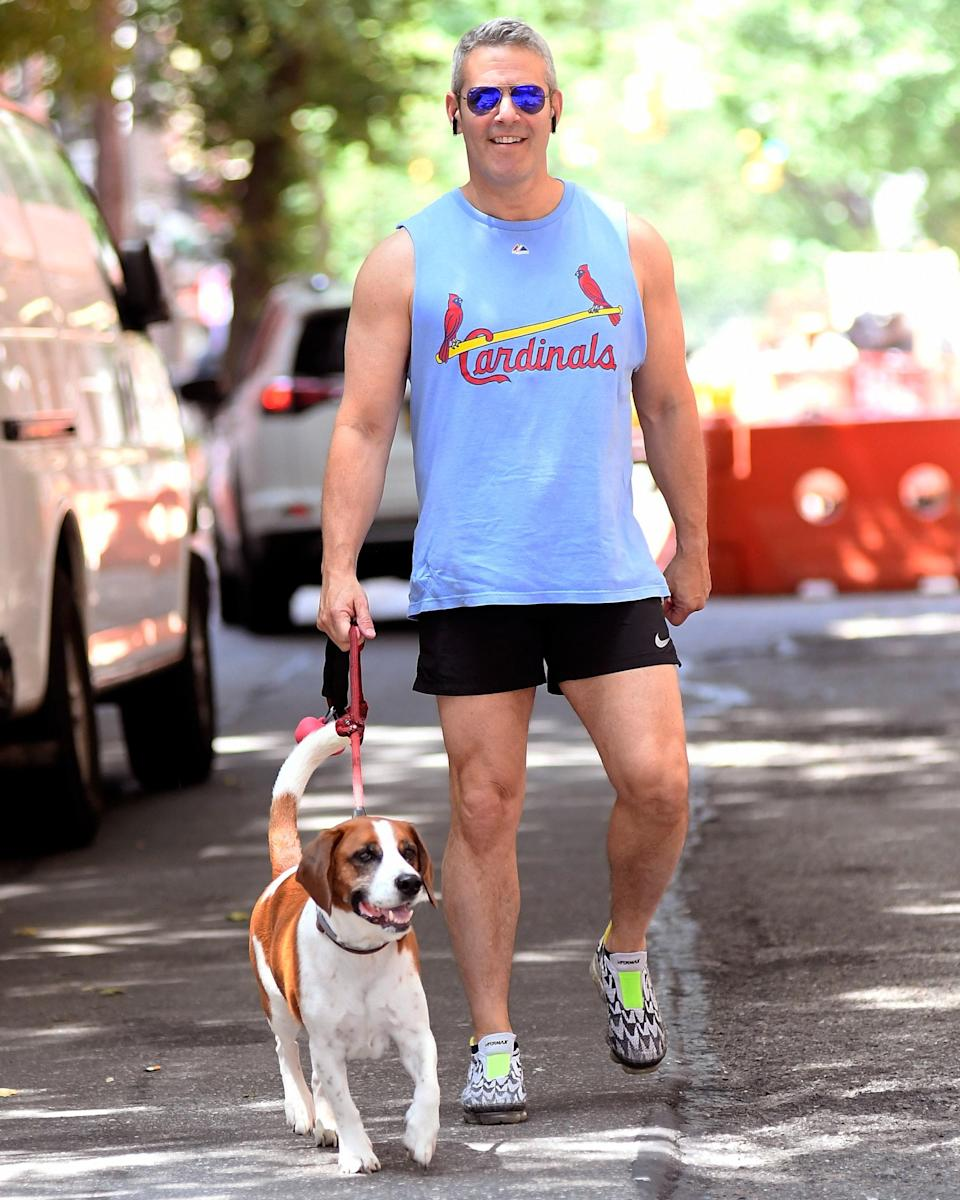 """<h1 class=""""title"""">July 9: Andy Cohen</h1> <div class=""""caption""""> Sun's out, guns—and thighs, and perfect dog, and cool sneakers—out. </div> <cite class=""""credit"""">Splash News</cite>"""