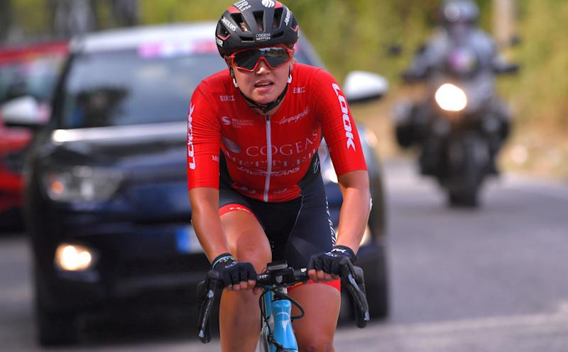 MADDALONI ITALY SEPTEMBER 17 Mariia Novolodskaia of Russia and Cogeas Mettler Look Pro Cycling Team during the 31st Giro dItalia Internazionale Femminile 2020 Stage 7 a 1125km stage from Nola to Maddaloni GiroRosaIccrea GiroRosa on September 17 2020 in Maddaloni Italy Photo by Luc ClaessenGetty Images