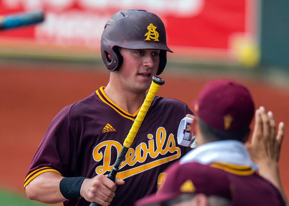 BATON ROUGE, LA - JUNE 01:  Arizona State Sun Devils infielder Spencer Torkelson (20) scores a run during a game between the Arizona State Sun Devils and the Stony Brook Sea Wolves at Alex Box Stadium in Baton Rouge, Louisiana on June 1, 2019. (Photo by John Korduner/Icon Sportswire via Getty Images)