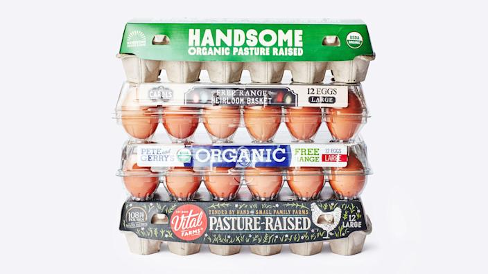 """If you think the periodic table is confusing, take a look at the egg carton labels of your local grocery store. So many words! So many symbols! Some of which are <em>intended</em> to confuse you! And why are some cartons $2/dozen and others $8? We're breaking down the terms and separating the meaningful stuff from the riffraff. <a href=""""https://www.bonappetit.com/story/how-to-make-sense-of-egg-carton-labels?mbid=synd_yahoo_rss"""" rel=""""nofollow noopener"""" target=""""_blank"""" data-ylk=""""slk:See article."""" class=""""link rapid-noclick-resp"""">See article.</a>"""