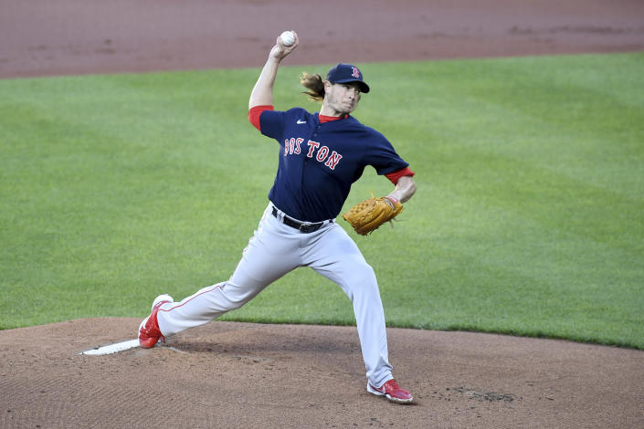 Boston Red Sox starting pitcher Garrett Richards throws against the Baltimore Orioles in the first inning of a baseball game, Saturday, May 8, 2021, in Baltimore. (AP Photo/Will Newton)