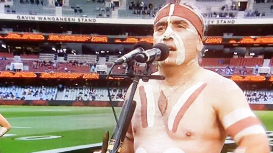 Karl Telfer, pictured here performing the traditional Welcome to Country.