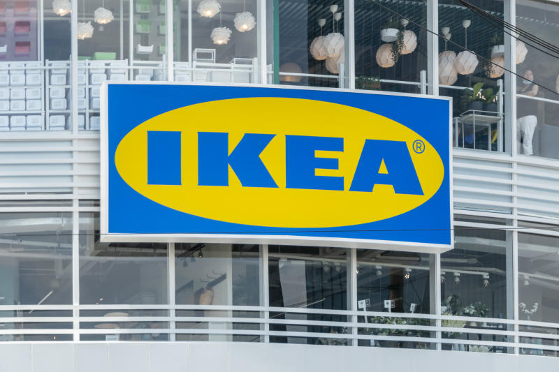 SHANGHAI, CHINA - JULY 23: The logo of the furnishing group IKEA hangs above the entrance to a new IKEA store on the opening day on July 23, 2020 in Shanghai, China. (Photo by Wang Gang/VCG via Getty Images)