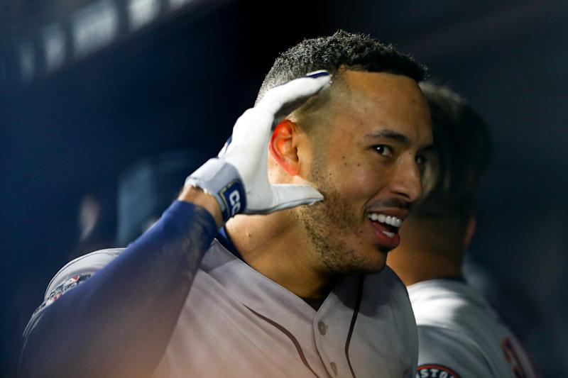 NEW YORK, NEW YORK - OCTOBER 17: Carlos Correa #1 of the Houston Astros celebrates his three-run home run against the New York Yankees during the sixth inning in game four of the American League Championship Series at Yankee Stadium on October 17, 2019 in New York City. (Photo by Mike Stobe/Getty Images)