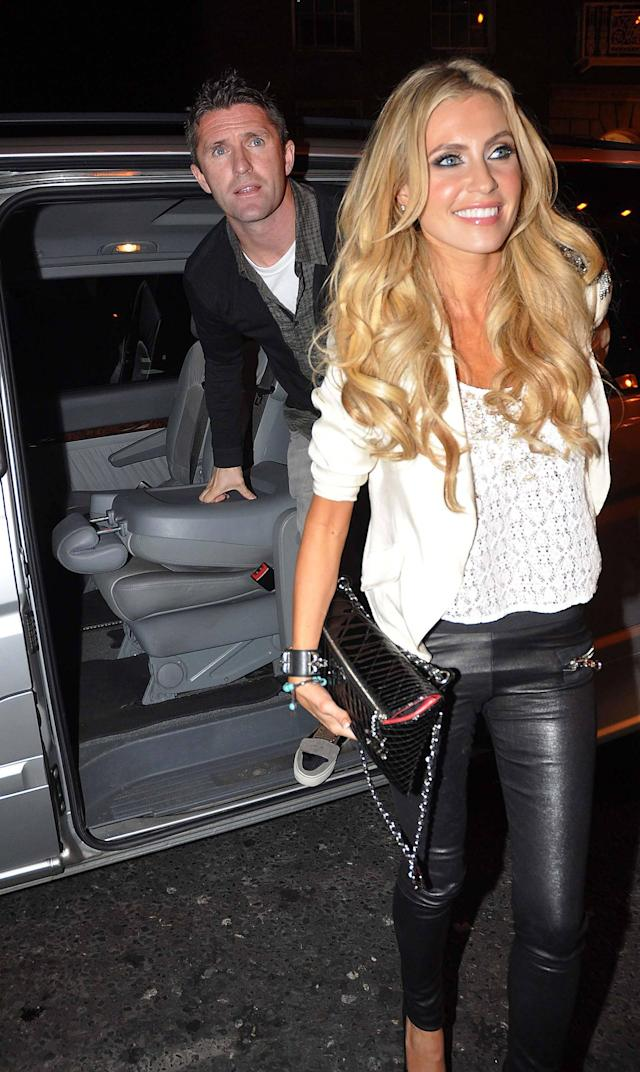 LA Galaxy player, Robbie Keane and Claudine Keane, The Rep. of Ireland football team and some of their WAGs arrive at Krystle nightclub to celebrate qualifying for Euro 2012 after their 1-1 draw with Estonia at the Aviva Stadium. Dublin, Ireland - 15.11.11 **Not available for publication in Irish Tabloids. Available for publication in the rest of the world** Mandatory Credit: WENN.com