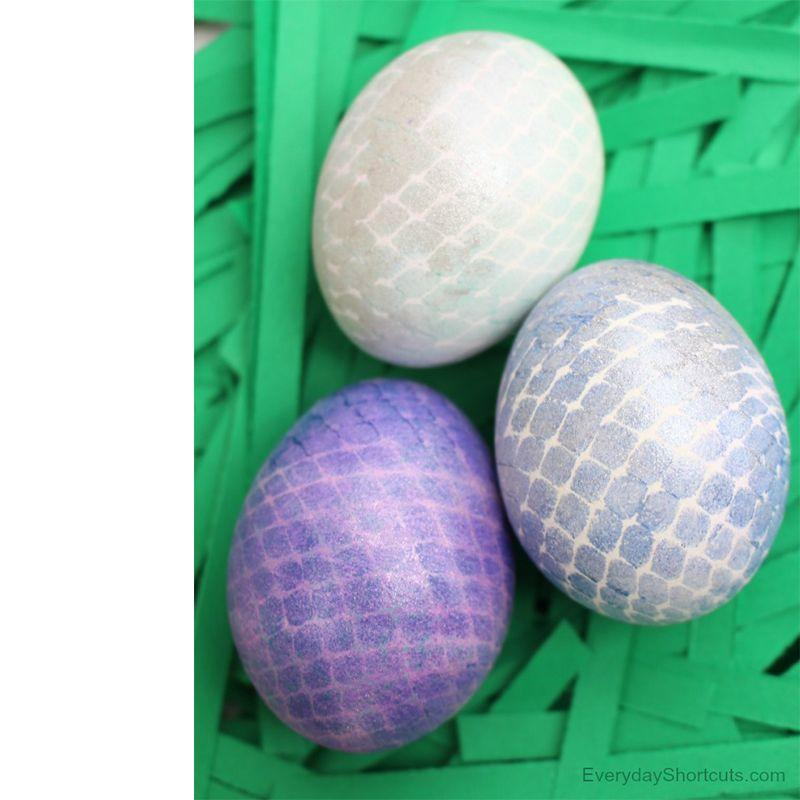 "<p>These mystical-looking mermaid eggs are perfect for the person who loves a good fairytale. Just use some spray paint, glitter, and netting, and in three easy steps you can create gorgeous eggs that any mermaid would love.</p><p><em>Get the tutorial at <a href=""https://everydayshortcuts.com/mermaid-easter-eggs/"" rel=""nofollow noopener"" target=""_blank"" data-ylk=""slk:Everyday Shortcuts"" class=""link rapid-noclick-resp"">Everyday Shortcuts</a>. </em></p>"