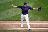 Minnesota Twins pitcher Jose Berrios celebrates an inning-ending out against the Houston Astros in the fourth inning of Game 2 of an American League wild-card baseball series, Wednesday, Sept. 30, 2020, in Minneapolis. (AP Photo/Jim Mone)