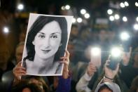 FILE PHOTO: People gather at the Great Siege Square calling for the resignation of Joseph Muscat, in Valletta