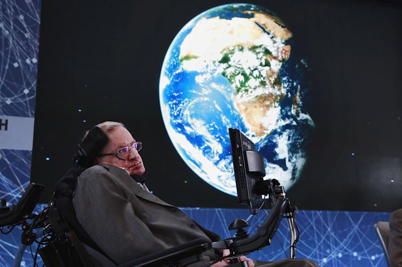 At age 74, Stephen Hawking sits onstage during an announcement of the Breakthrough Starshot initiative with investor Yuri Milner in New York on April 12, 2016.
