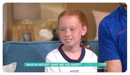 10-year-old Belle McNally broke down in tears as her idol Mason Mount said her emotional reaction 'made his night' (ITV/This Morning)
