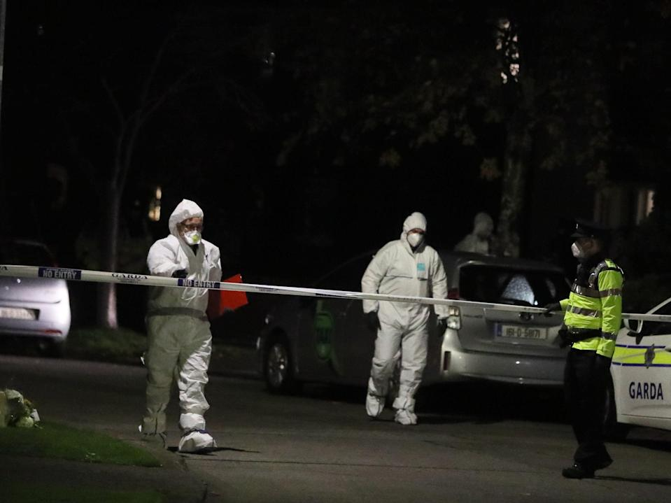 Forensic officers the scene in the Llewellyn estate in Ballinteer, south Dublin, following the discovery of bodies of a woman and two young children (PA)