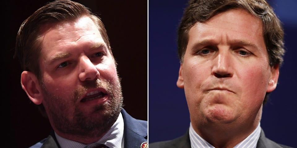 Close up photos of Eric Swalwell and Tucker Carlson side by side