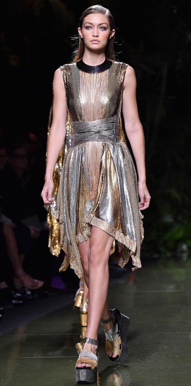 online here new release wholesale price Gigi Hadid Hits the Balmain Runway in an Ultra Sparkly ...