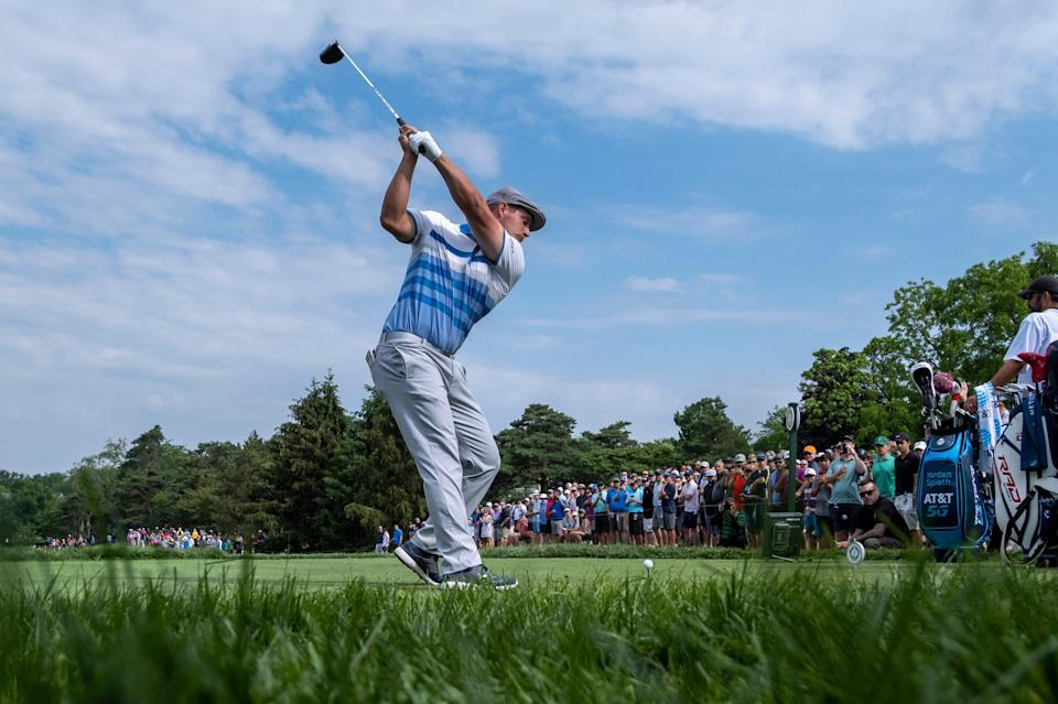 Bryson DeChambeau tees off on the 11th hole at the Memorial Tournament on Friday.