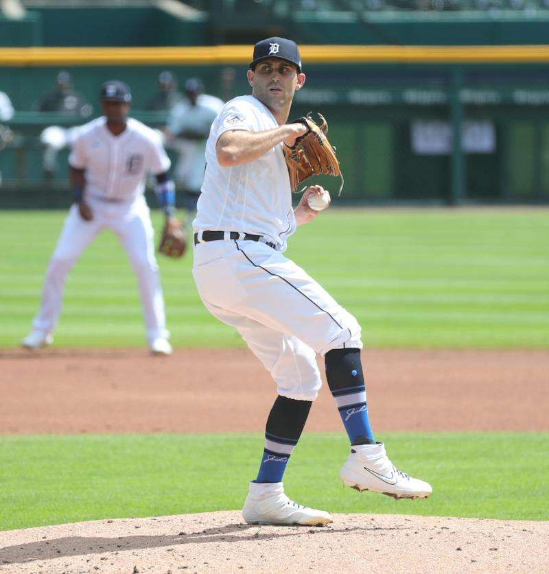 Tigers pitcher Matthew Boyd pitches against the Twins during the third inning at Comerica Park on Saturday, August 29, 2020.