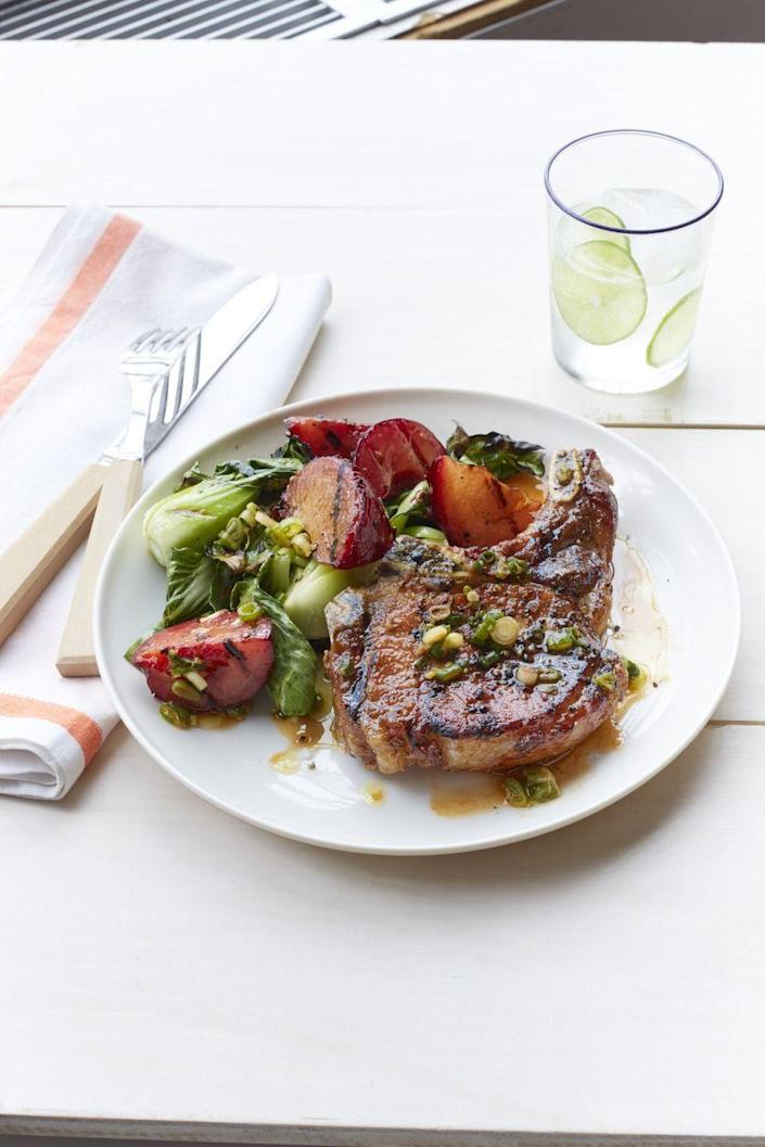 "<p>Juicy plums lend sweetness to this savory dinner that can be eaten all year long. </p><p><em><a href=""https://www.womansday.com/food-recipes/food-drinks/recipes/a55282/grilled-pork-chops-with-plum-and-bok-choy-recipe/"" rel=""nofollow noopener"" target=""_blank"" data-ylk=""slk:Get the Grilled Pork Chops with Plum and Bok Choy recipe."" class=""link rapid-noclick-resp"">Get the Grilled Pork Chops with Plum and Bok Choy recipe.</a></em><br></p><p><strong>What You'll Need</strong>: <a href=""https://www.amazon.com/Kikkoman-Gluten-Free-Soy-Sauce/dp/B00CLYPGDY/"" rel=""nofollow noopener"" target=""_blank"" data-ylk=""slk:Soy sauce"" class=""link rapid-noclick-resp"">Soy sauce </a>($9, Amazon)</p>"