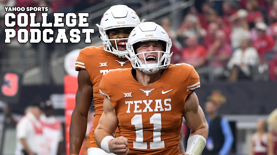 Texas quarterback Sam Ehlinger celebrates after a touchdown run against Oklahoma in 2018. Will the Longhorns or Sooners take the title? Or will Mike Gundy and Oklahoma State take the Big 12 in 2020? Tune into our State of the Conference preview to find out. (AP Photo/Jeffrey McWhorter)