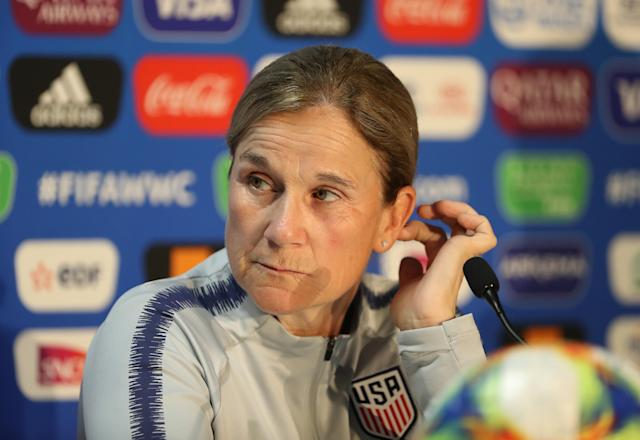 REIMS, FRANCE - JUNE 10: USA coach Jill Ellis speaks to the media during the USA press conference ahead of the Group F match between the USA and Thailand for the 2019 FIFA Women's World Cup France at Stade Auguste Delaune on June 10, 2019 in Reims, France. (Photo by Robert Cianflone - FIFA/FIFA via Getty Images)