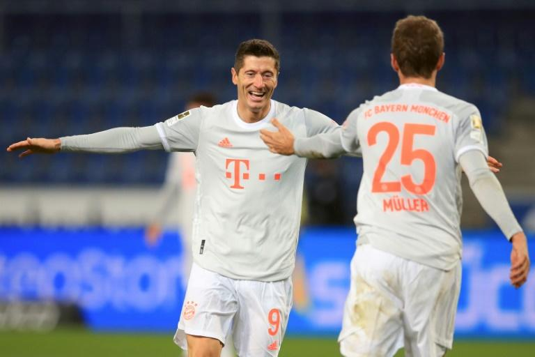 Lewandowski, Mueller doubles send Bayern second with 'crazy' Bielefeld win