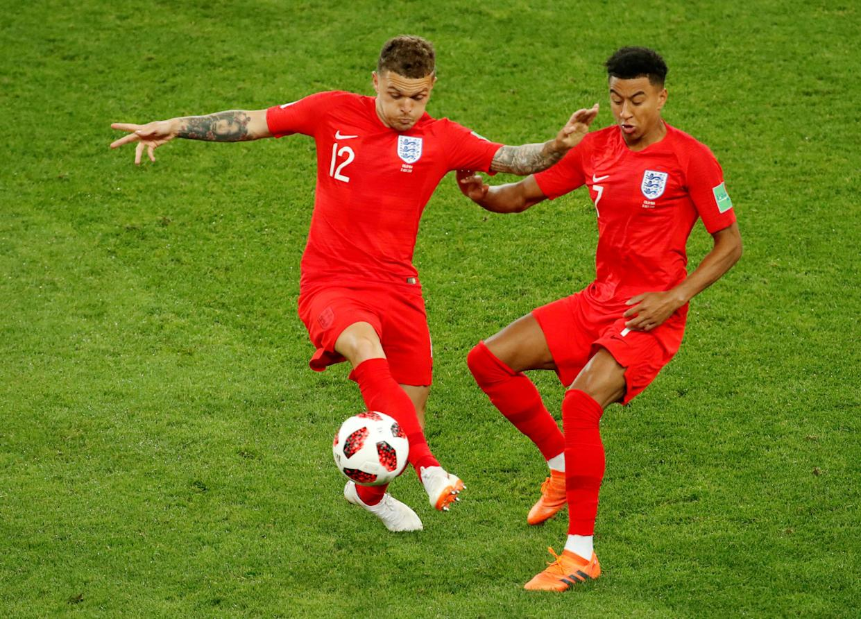 Soccer Football – World Cup – Round of 16 – Colombia vs England – Spartak Stadium, Moscow, Russia – July 3, 2018 England's Kieran Trippier and Jesse Lingard in action REUTERS/Christian Hartmann