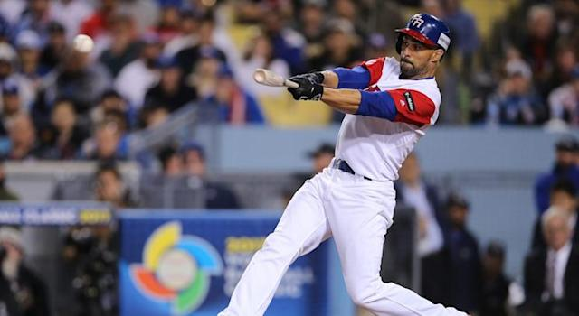 Pagan's performance at the World Baseball Classic might have caught the attention of MLB teams. (Photo by Peter Joneleit/Cal Sport Med/REX/Shutterstock)