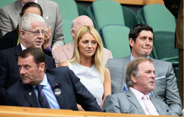 LONDON, ENGLAND - JULY 02: Richard Curtis, Tess Daly and Vernon Kay sit in the Royal Box before the Ladies' Singles quarter-final match between Agnieszka Radwanska of Poland and Na Li of China on day eight of the Wimbledon Lawn Tennis Championships at the All England Lawn Tennis and Croquet Club at Wimbledon on July 2, 2013 in London, England. (Photo by Dennis Grombkowski/Getty Images)