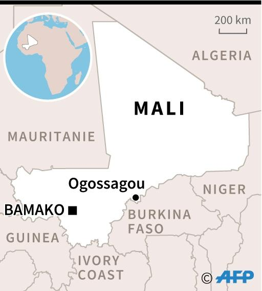 Map locating the village of Ogossagou, where over 100 people were killed in a massacre on Saturday (AFP Photo/)