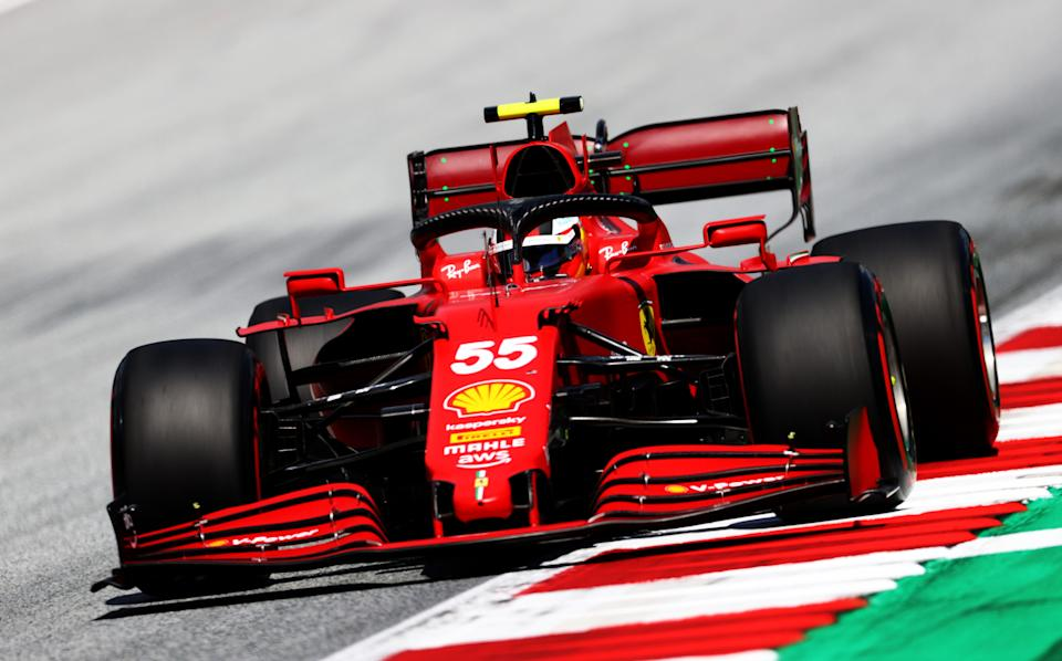 SPIELBERG, AUSTRIA - JUNE 26: Carlos Sainz of Spain driving the (55) Scuderia Ferrari SF21 on track during qualifying ahead of the F1 Grand Prix of Styria at Red Bull Ring on June 26, 2021 in Spielberg, Austria. (Photo by Clive Rose/Getty Images)