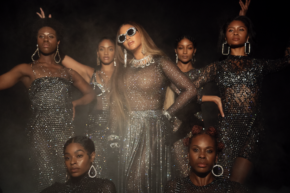 <p>Beyoncé wears a shimmering, form-hugging bodysuit and skirt by D.Bleu.Dazzled and a necklace by Area. </p>
