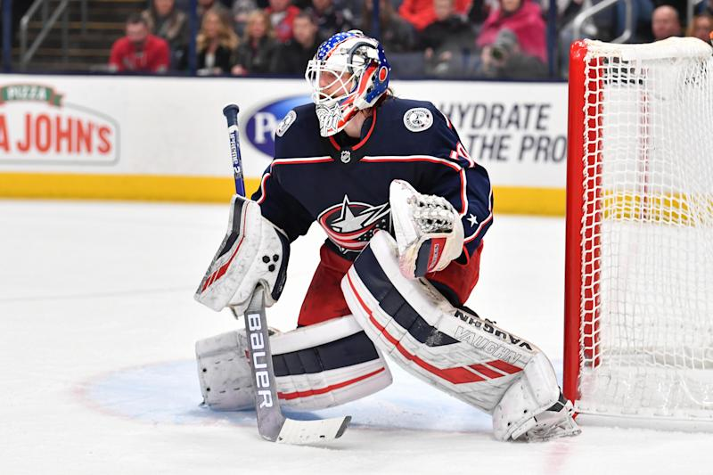 Goaltender Joonas Korpisalo #70 of the Columbus Blue Jackets