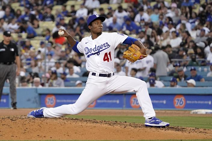 Josiah Gray pitches for the Dodgers.