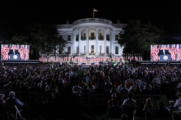 President Donald Trump delivers his acceptance speech for the Republican presidential nomination on the South Lawn of the White House in front of more than 1,000 invited guests.