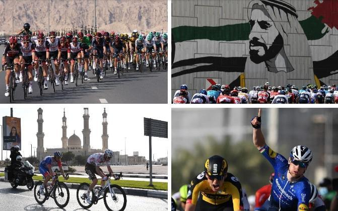 Action from stage four at the UAE Tour — Sam Bennett sprints to UAE Tour stage victory as Tadej Pogacar retains lead - GETTY IMAGES