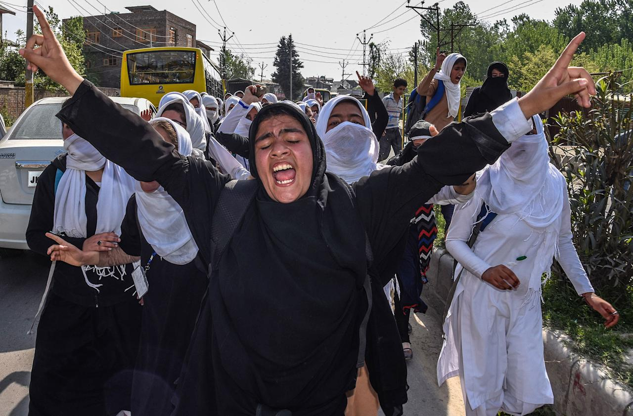 """<p>Kashmiri students chant anti-Indian slogans after an attack by Indian government forces on students, during the fourth consecutive day of protests on April 20, 2017 in Srinagar, the summer capital of Indian administered Kashmir, India. Hundreds of Kashmir students took to the streets to protest a police raid in a college in southern Pulwama town on last week, in which at least 50 students were injured. The students were chanting slogans """"Go India, go back"""" and """"We want freedom."""" Indian government forces used tear gas to disperse the students , who were protesting against the alleged attack by Indian forces on college students in south Kashmir. The authorities also suspended internet services in the region. (Yawar Nazir/Getty Images) </p>"""