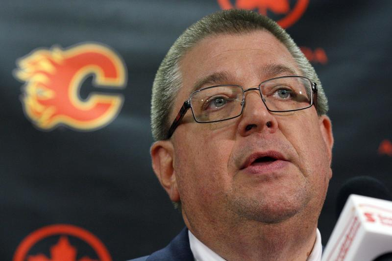 Calgary Flames general manager Jay Feaster speaks to the media following the team's announcement trading captain Jarome Iginla to the Pittsburgh Penguins, in Calgary, Alberta, Wednesday, March 27, 2013. The Flames have trade Iginla in exchange for forwards Kenneth Agostino and Ben Hanowski and the Pittsburgh Penguins 2013 first round pick. (AP Photo/The Canadian Press, Jeff McIntosh)