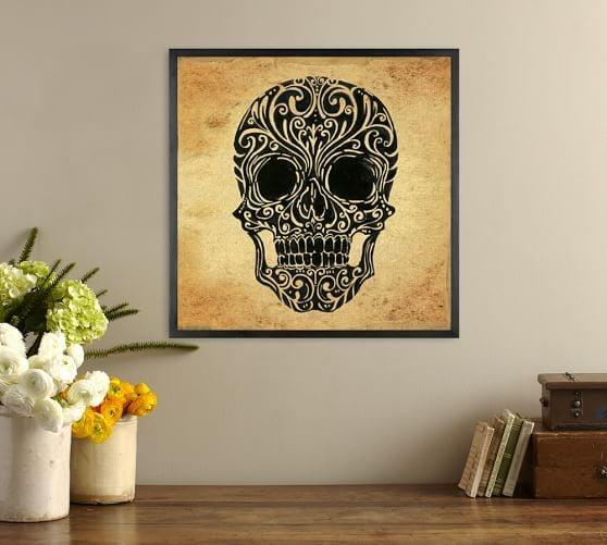 <p>The detailed skeleton in this <span>Skull Art Canvas Framed Print</span> ($149) is boo-tiful to look at.</p>