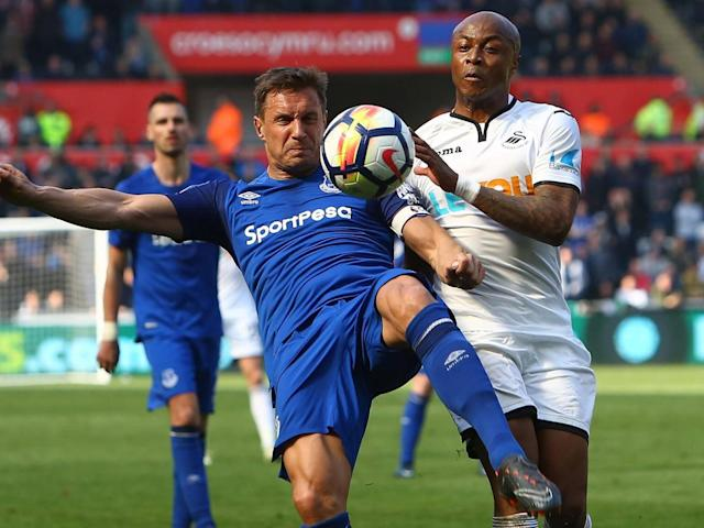 Jordan Ayew salvages Swansea a point against Everton after Kyle Naughton own goal