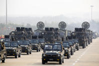 Military vehicles parade during the national Armed Forces Day in Naypyitaw, Myanmar, Saturday, March 27, 2021. Senior Gen. Min Aung Hlaing, the head of Myanmar's junta, on Saturday used the occasion of the country's Armed Forces Day to try to justify the overthrow of the elected government of Aung San Suu Kyi, as protesters marked the holiday by calling for even bigger demonstrations. (AP Photo)(AP Photo)