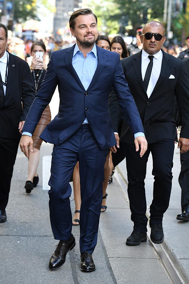 <p>Fred Astaire might have been known for being deft and light on his feet, but Leo is giving him a run for his money. Here, he doesn't just walk down the street during the 2016 Toronto Film Festival, he <em>floats</em>. His jacket being slightly blown by the wind, his arms slightly uplifted, Leo appears to be taken with the whole experience, judging by the smile on his face, as he basks in the glow of a lighthearted walk in fall on foreign soil. It's unclear if the wind is a natural phenomenon or self-generated by sheer force of will. (Photo: George Pimentel/WireImage) </p>