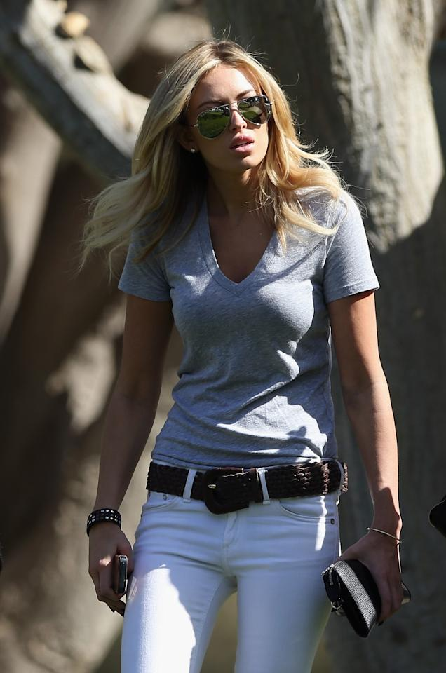 PACIFIC PALISADES, CA - FEBRUARY 15:  Paulina Gretzky watches the play of Dustin Johnson during the second round of the Northern Trust Open at Riviera Country Club on February 15, 2013 in Pacific Palisades, California.  (Photo by Jeff Gross/Getty Images)