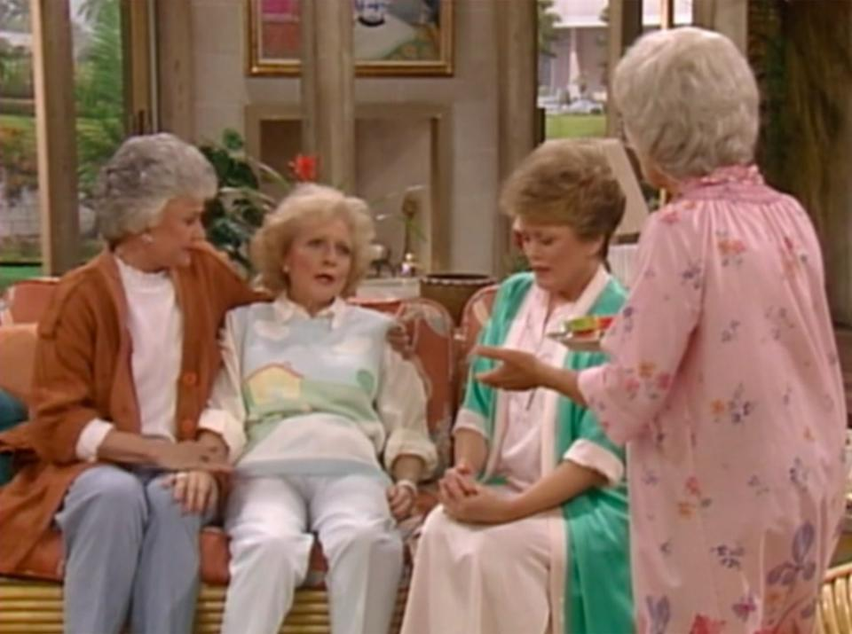 Bea Arthur, Betty White, Rue McClanahan, and Estelle Getty in The Golden Girls