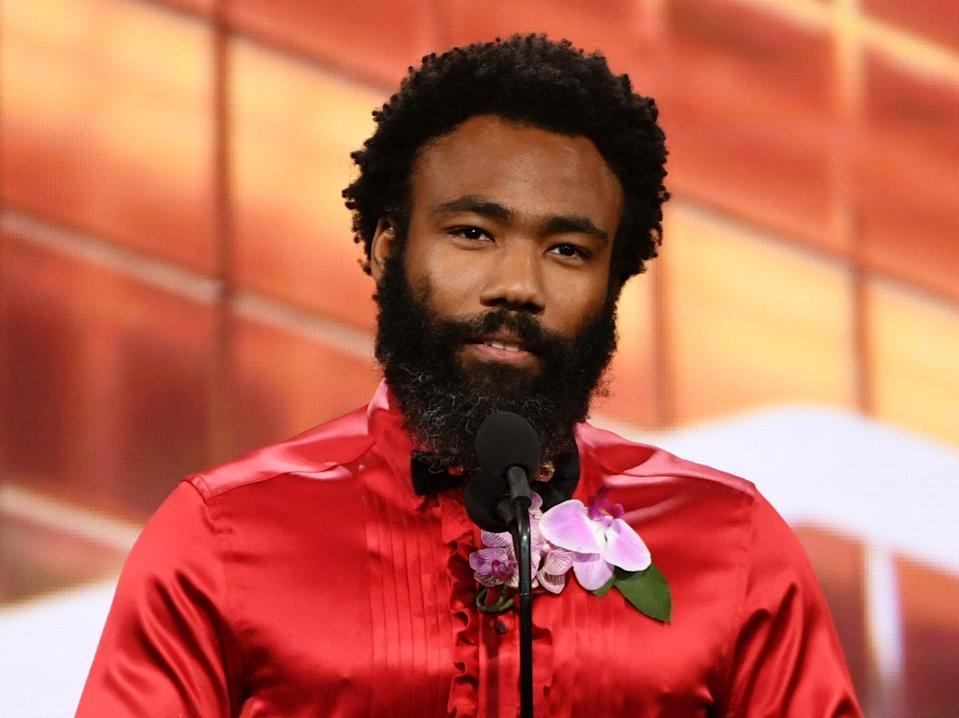 Donald Glover speaking onstage at the British Academy Britannia Awards in 2019 (Getty Images for BAFTA LA)