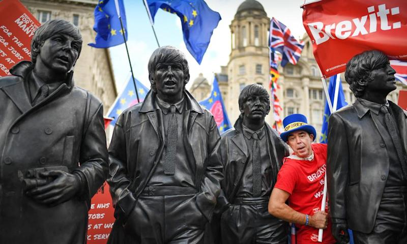 An anti-Brexit demonstrator in Liverpool, England.