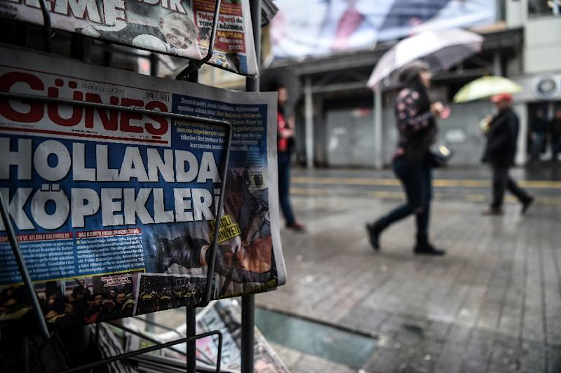 Turkey and the Netherlands are at loggerheads after President Recep Tayyip Erdogan accused the Dutch of acting like the Nazis (AFP Photo/OZAN KOSE)