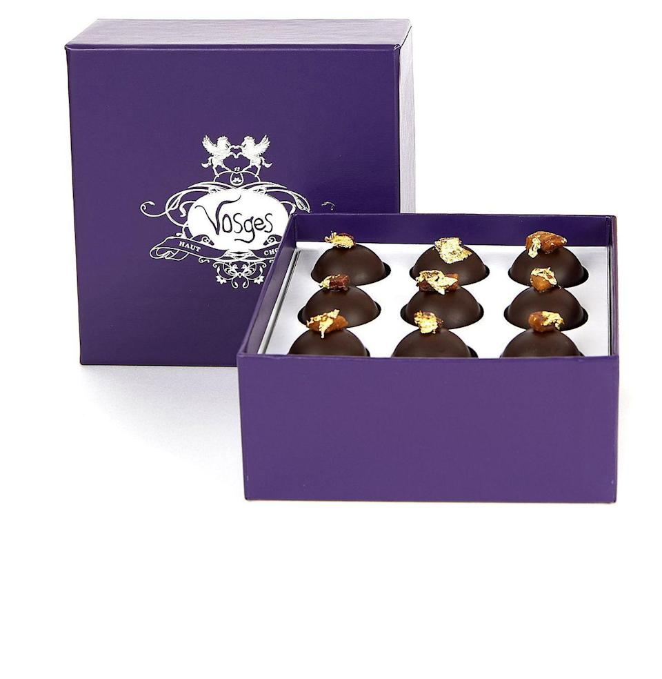 """<p><strong>Vosges</strong></p><p>vosgeschocolate.com</p><p><strong>$34.00</strong></p><p><a href=""""https://go.redirectingat.com?id=74968X1596630&url=https%3A%2F%2Fwww.vosgeschocolate.com%2Fproducts%2Fwhiskey-run-truffle-collection&sref=https%3A%2F%2Fwww.esquire.com%2Ffood-drink%2Fdrinks%2Fg3047%2Fgifts-for-the-modern-whisky-drinker%2F"""" rel=""""nofollow noopener"""" target=""""_blank"""" data-ylk=""""slk:Buy"""" class=""""link rapid-noclick-resp"""">Buy</a></p><p>Vosges borrowed the essence of Templeton Rye to flavor these decadent truffles. Two vices, satisfied in one purple box.</p>"""