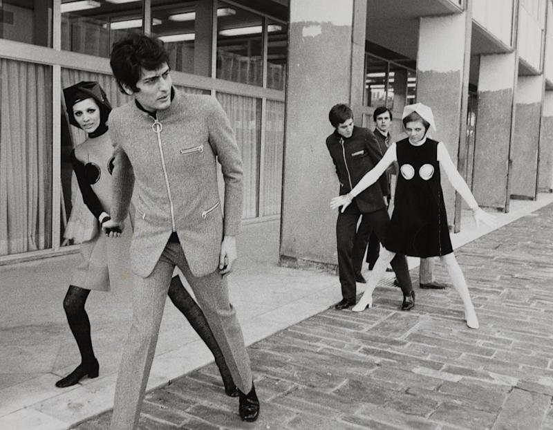 """Pierre Cardin """"Cosmocorps"""" suits and """"Porthole"""" dresses, 1968."""