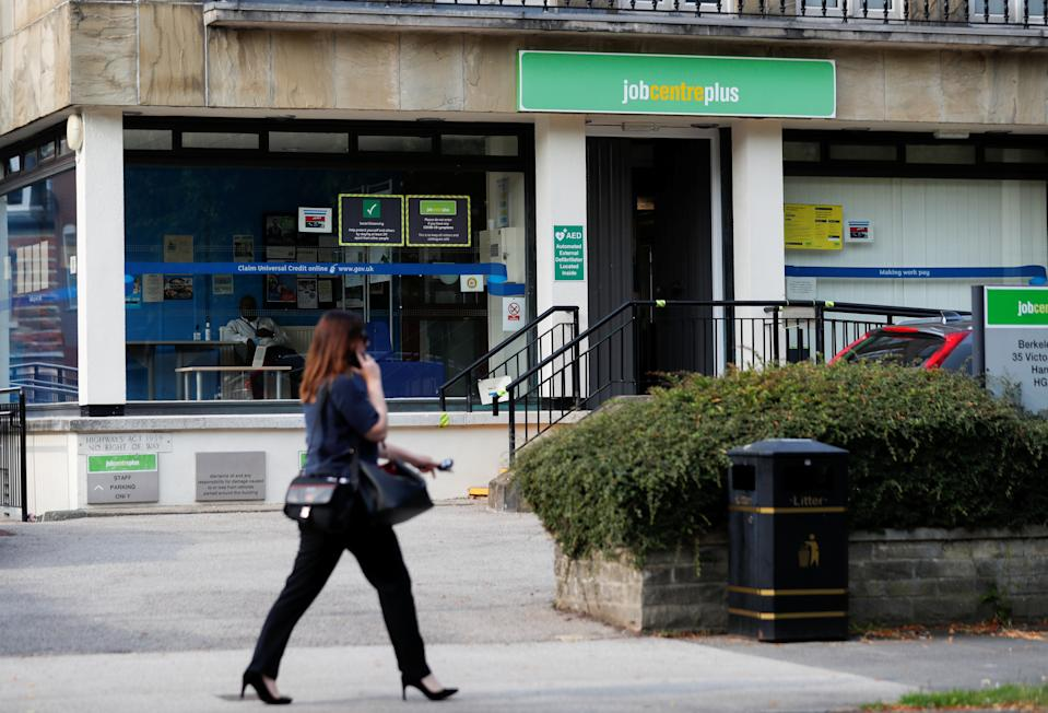 A Jobcentre Plus office is pictured, following the outbreak of the coronavirus disease (COVID-19) in Harrogate, Britain August 11, 2020. REUTERS/Lee Smith
