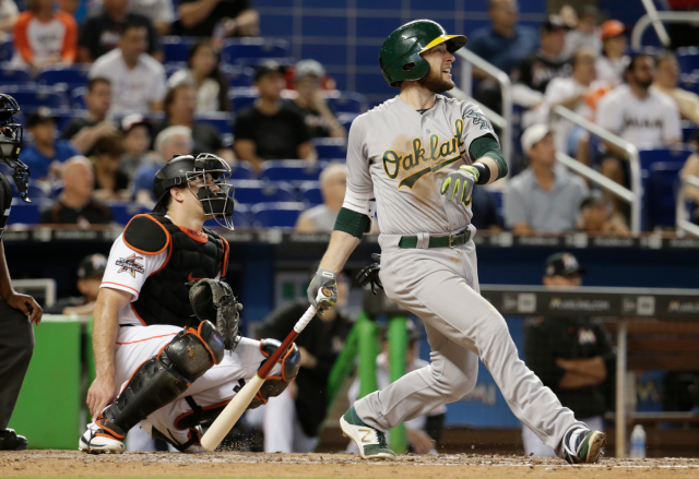 "<a class=""link rapid-noclick-resp"" href=""/mlb/players/8200/"" data-ylk=""slk:Jed Lowrie"">Jed Lowrie</a>'s left-handed swing has been sweet all season (AP)"