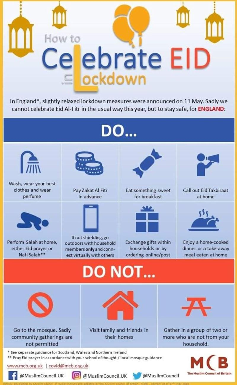 Eid in lockdown guidance for England from the Muslim Council of Britain (Photo: Muslim Council of Britain)
